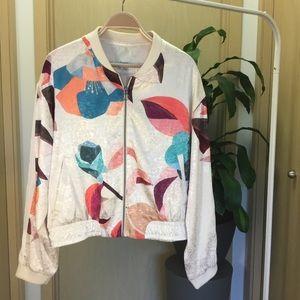 Anthropologie Elevenses Cream Floral Bomber Jacket